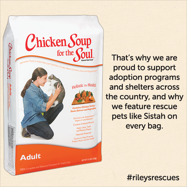 That's why we are proud to support adoption programs and shelters across the country, and why we feature rescue pet like Sistah on every bag