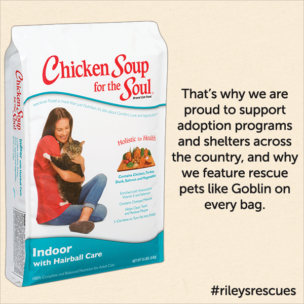 That's why we are proud to support adoption programs and shelters across the country, and why we feature rescue pet like Goblin on every bag