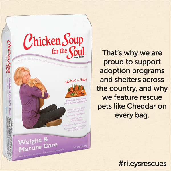 That's why we are proud to support adoption programs and shelters across the country, and why we feature rescue pet like Cheddar on every bag