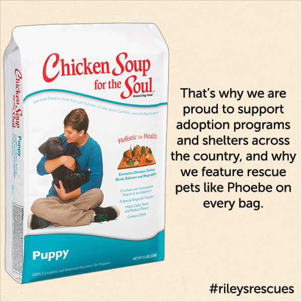 That's why we are proud to support adoption programs and shelters across the country, and why we feature rescue pet like Phoebe on every bag