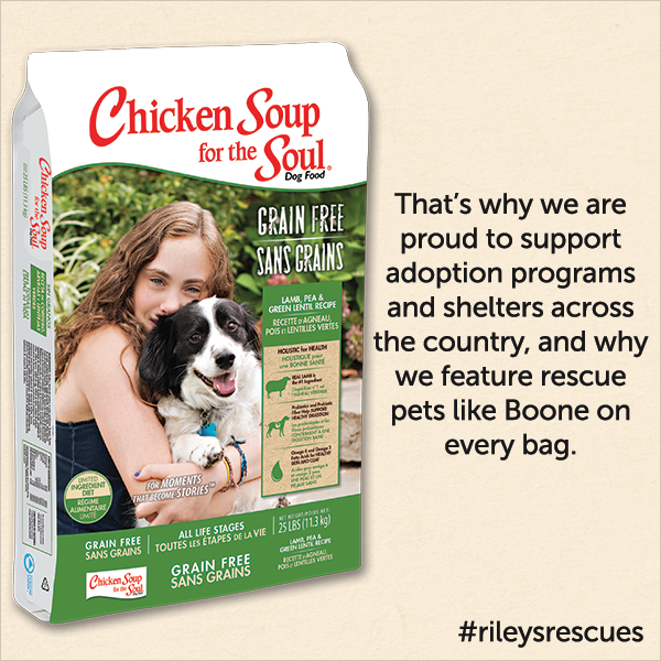 That's why we are proud to support adoption programs and shelters across the country, and why we feature rescue pet like Boone on every bag