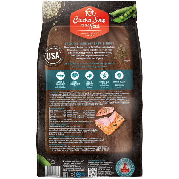 Grain Free Cat Food - Salmon & Legumes Recipe (back of bag)