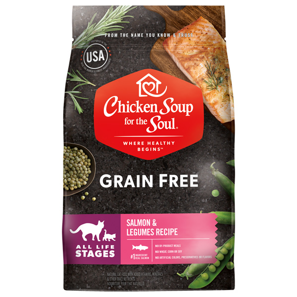 Grain Free Cat Food - Salmon & Legumes Recipe (front of bag)