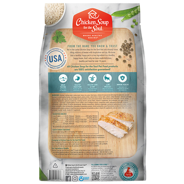 Classic  Adult Cat Dry Food - Chicken & Brown Rice Recipe (back of bag)