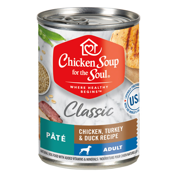 Classic Adult Dog Wet Food - Chicken, Turkey & Duck Recipe Pâté (front of can)