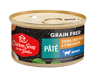 Grain Free Wet Cat Food - Chicken, Sweet Potato & Spinach Recipe Pâté (front view)