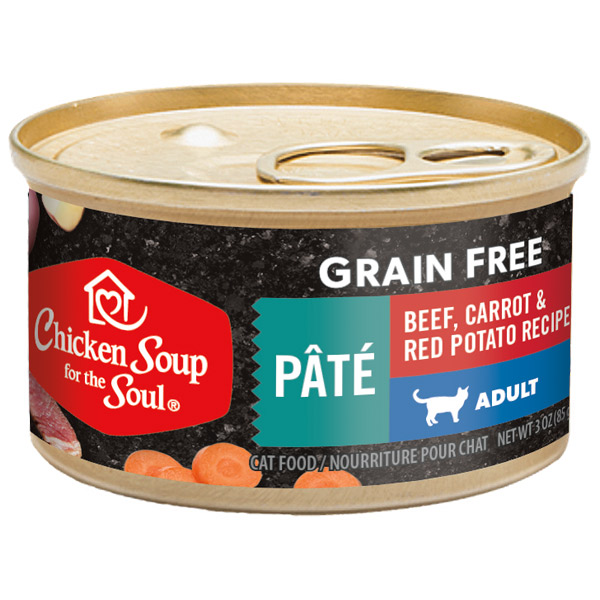 Grain Free Wet Cat Food - Beef, Carrot & Red Potato Recipe Pâté (front)