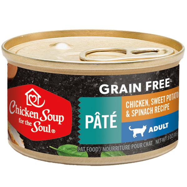 Grain Free Wet Cat Food - Chicken, Sweet Potato & Spinach Recipe Pâté (front of can)