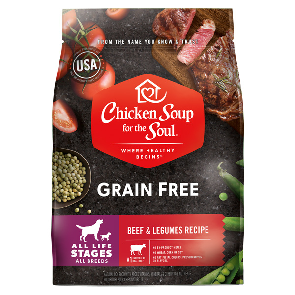 Grain Free Dog Food - Beef & Legumes Recipe (front of bag)