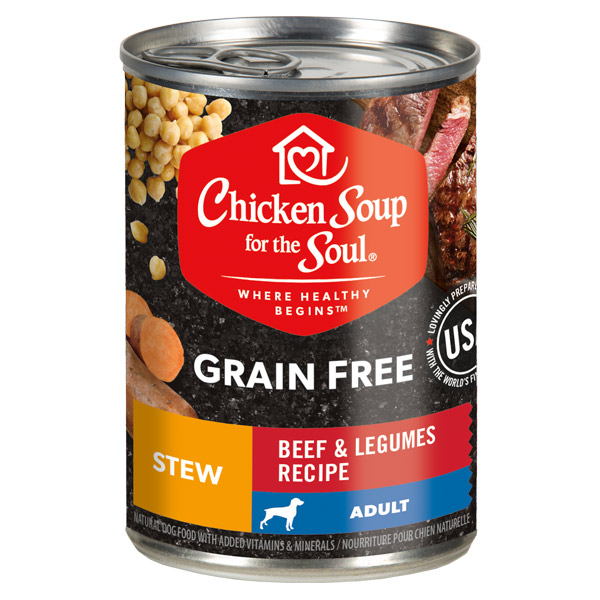 Grain Free Wet Dog Food - Beef & Legumes Recipe Stew (front of can)