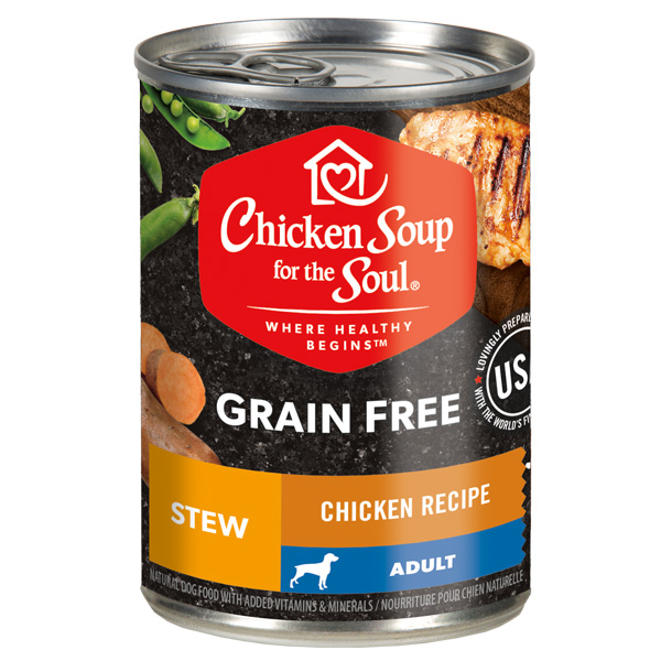 Grain Free Wet Dog Food - Chicken Recipe Stew (front of can)