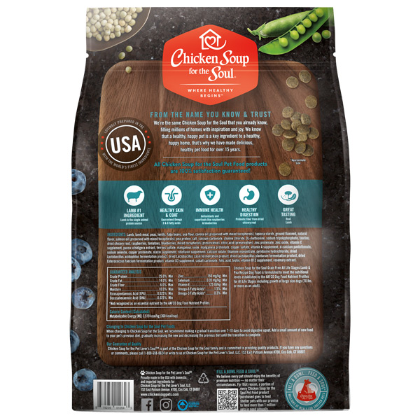 Benefits of Grain Free Dog Food - Lamb & Pea Recipe (back of bag)