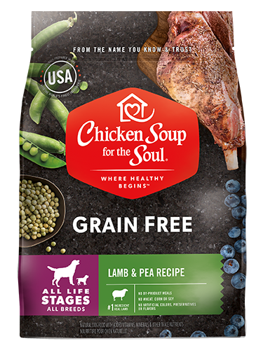 Benefits of Grain Free Dog Food - Lamb & Pea Recipe (front view image)