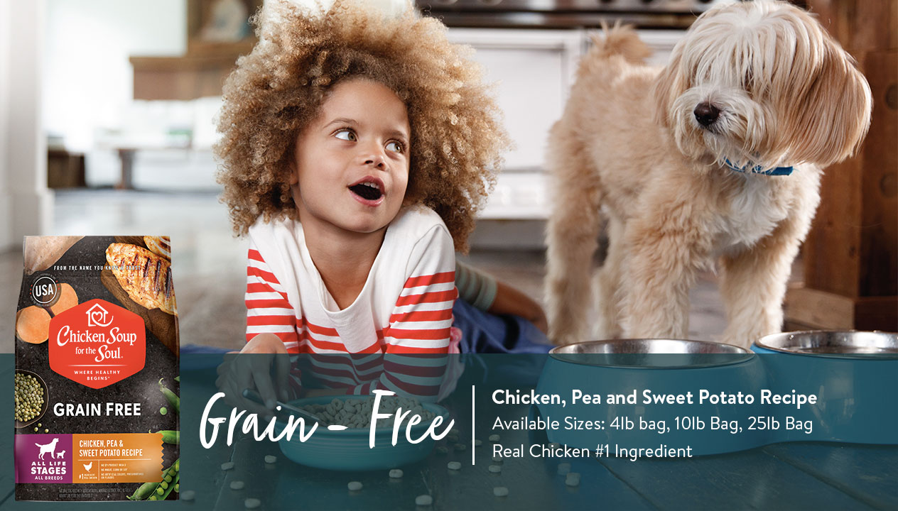 Grain Free Dog Food: Chicken, Pea, Sweet Potato Recipe Ad