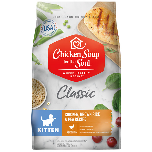 Classic Kitten Dry Food - Chicken, Brown Rice & Pea Recipe (front of bag)