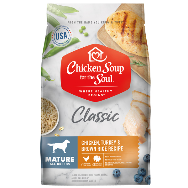 Classic Mature Dog Dry Food - Chicken, Turkey & Brown Rice Recipe (front of bag)