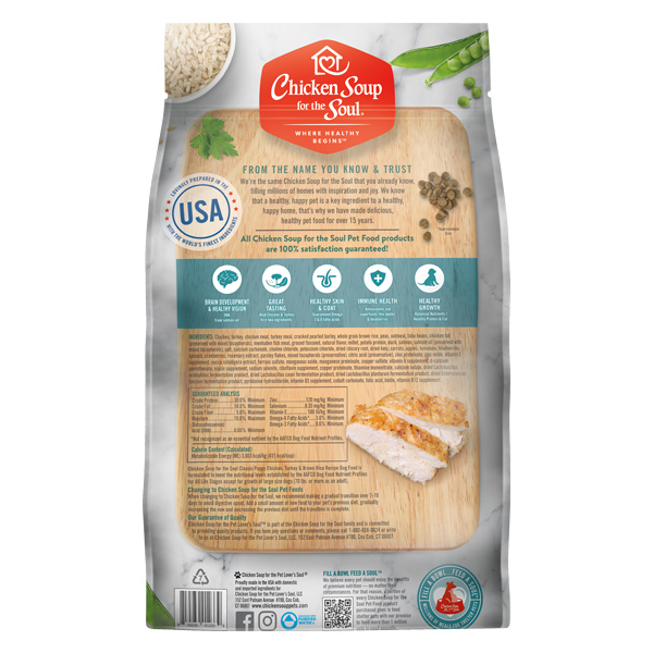 Classic Puppy Dry Food - Chicken, Turkey & Brown Rice Recipe (back of bag)