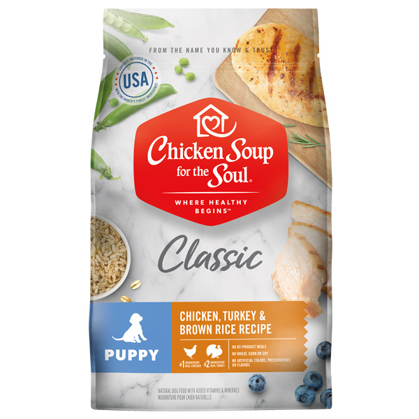 Classic Puppy Dry Food - Chicken, Turkey & Brown Rice Recipe (front of bag)