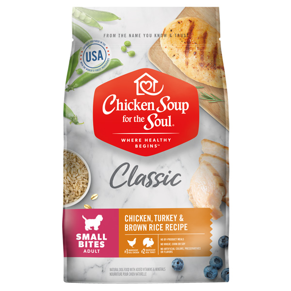 Classic Adult Small Bites Dog Food - Chicken, Turkey & Brown Rice Recipe (front of bag)
