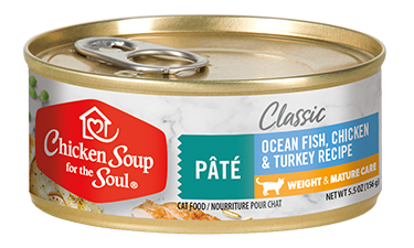 Classic Weight & Mature Care Wet Cat Food - Ocean Fish, Chicken & Turkey Pâté (front view)