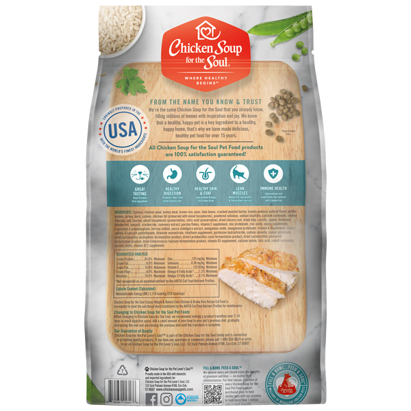 Classic Weight & Mature Care Dry Cat Food - Chicken & Brown Rice Recipe (back of bag)