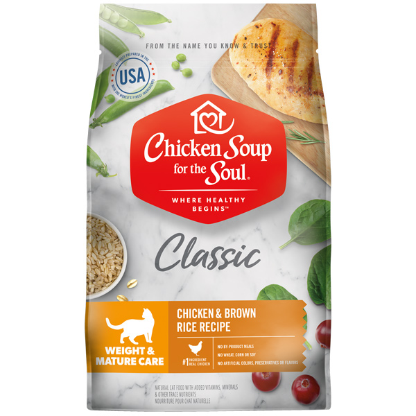 Classic Weight & Mature Care Dry Cat Food - Chicken & Brown Rice Recipe (front of bag)