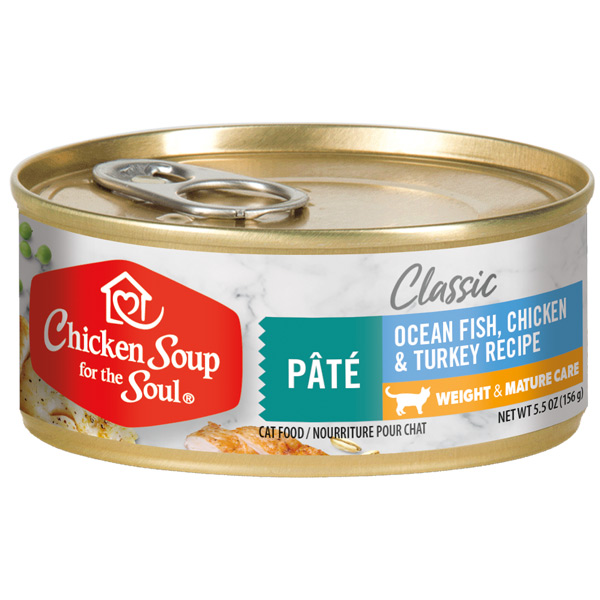 Classic Weight & Mature Care Wet Cat Food - Ocean Fish, Chicken & Turkey Pâté (front of can)