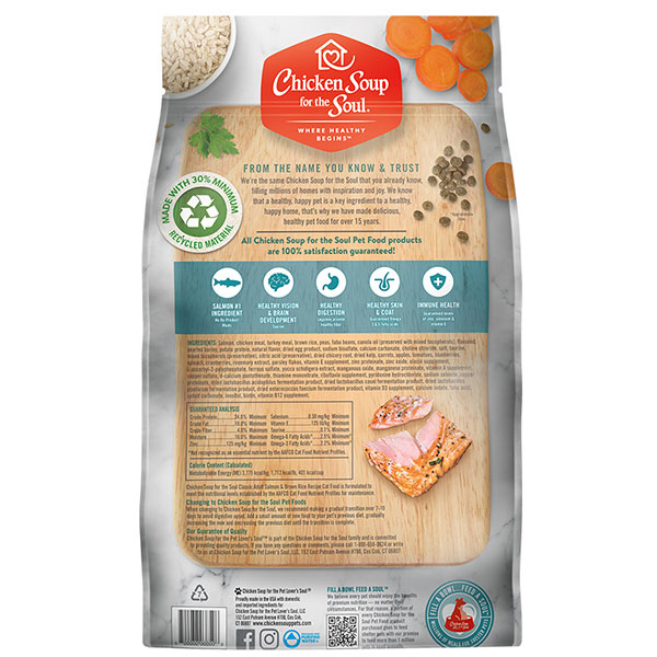 Classic Adult Dry Cat Food - Salmon & Brown Rice Recipe (back of bag)