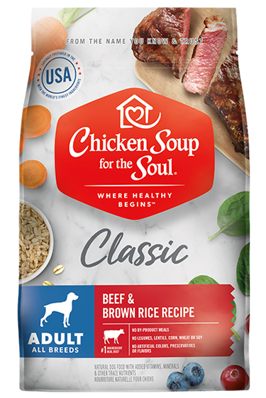 Classic Adult Dry Dog Food - Beef & Brown Rice Recipe front of bag