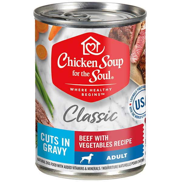 Classic Adult Dog Wet Food - Beef with Vegetables Recipe Cuts In Gravy (front view)