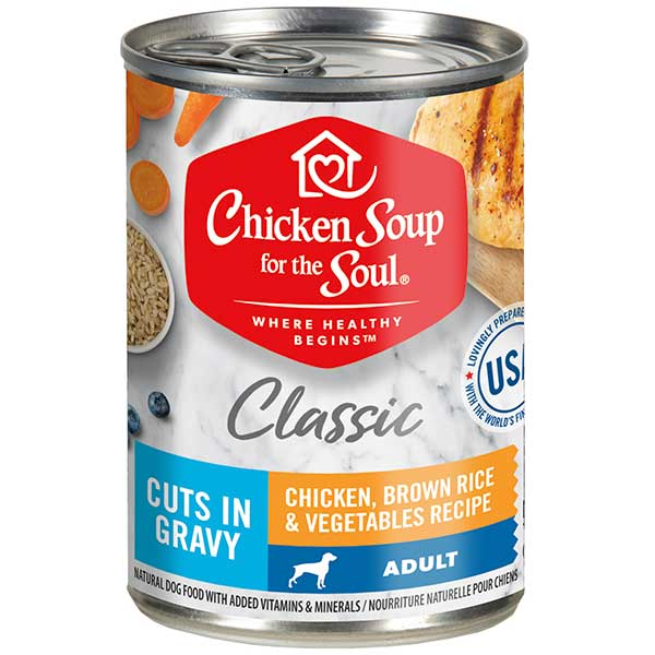 Classic Adult Dog Wet Food - Chicken, Brown Rice & Vegetables Recipe Cuts In Gravy (front view)