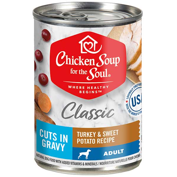 Classic Adult Dog Wet Food - Turkey & Sweet Potato Recipe Cuts In Gravy (front view)