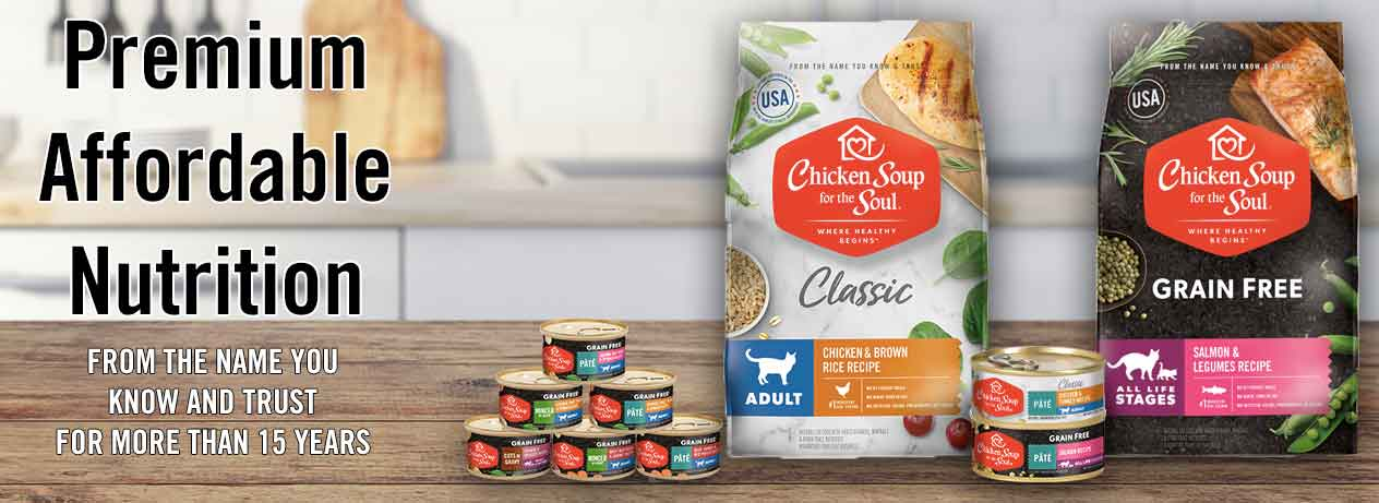 [banner image: Chicken Soup for the Soul Cat Food: premium affordable nutrition]