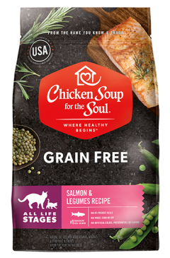 Grain Free Cat Food - Salmon & Legumes Recipe (front view)