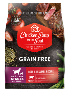 Grain Free Dog Food - Beef & Legumes Recipe (front view image)