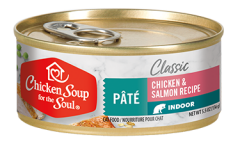 Classic Indoor Cat Wet Food - Chicken & Salmon Recipe Pâté (front view)