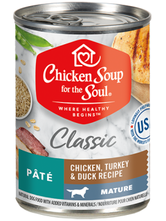 Classic Mature Dog Wet Food - Chicken, Turkey & Duck Recipe Pâté (front view)