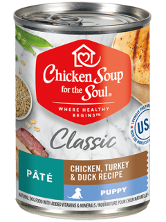 Classic Puppy Wet Food - Chicken, Turkey & Duck Recipe Pâté (front view)