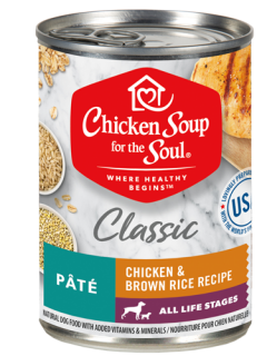 Classic Wet Dog Food - Chicken & Brown Rice Recipe Pâté (front view)