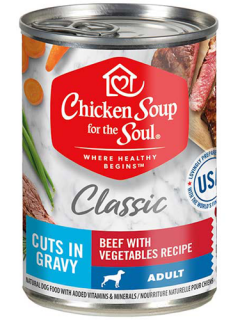 Classic Adult Dog Wet Food - Beef with Vegetables Recipe Cuts In Gravy front of can