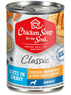 Classic Adult Dog Wet Food - Chicken, Brown Rice & Vegetables Recipe Cuts In Gravy front of can